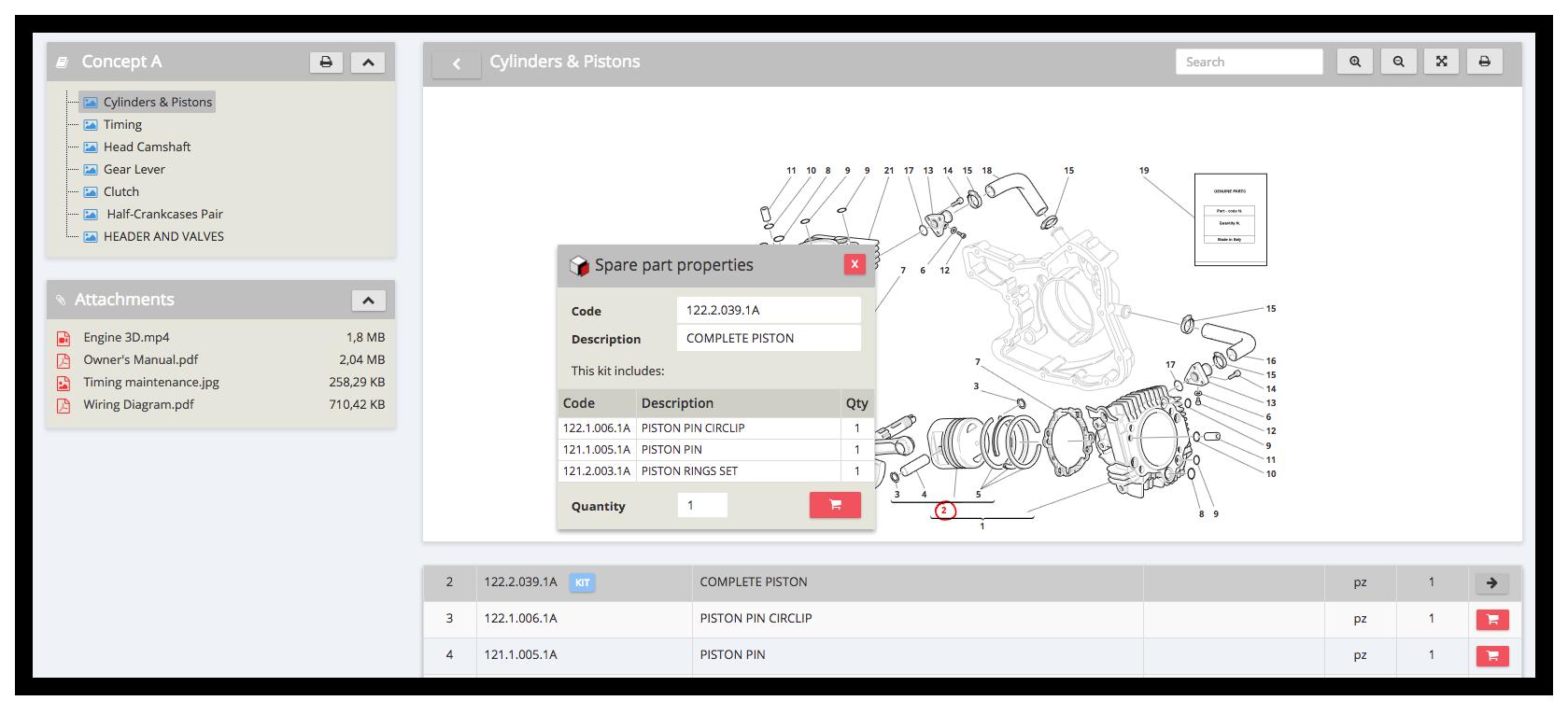 Software parts catalogue, kits management - InteractiveSPares.com